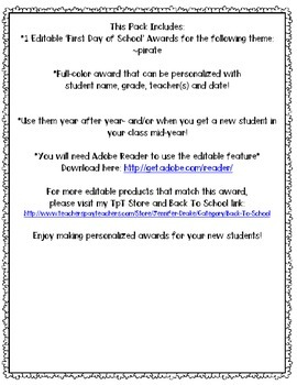 First Day of School Award **EDITABLE**  Pirate Version!