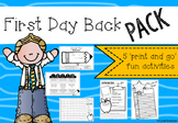 First Day Back Pack- back to school print and go activities