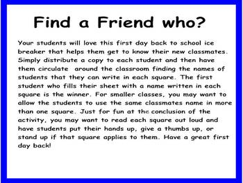 First Day Back To School Activity for Second, Third, Fourth, or Fifth Grade