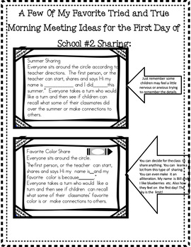 First Day Back to School Freebie Tried & True Ideas:Best for1st & 2nd Grade