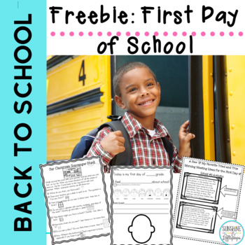 First Day Back to School Freebie Best for 1st and 2nd Grade