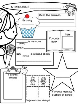 First Day ~ Back to School Get to know you activity: Interview a Classmate