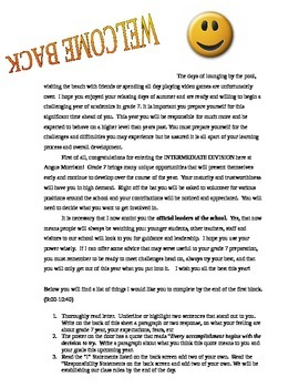 First Day Back to School Welcome Letter & Activity!