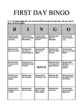 First Day Bingo