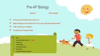 First Day Biology Class PowerPoint