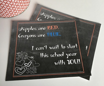 First Day Card for Students - Meet the Teacher, Prep Night, Back to School