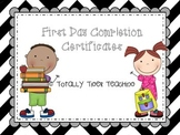 *UPDATED* First Day Certificates All Grades