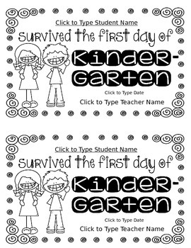 First Day Certificates for Grades K-5: Editable