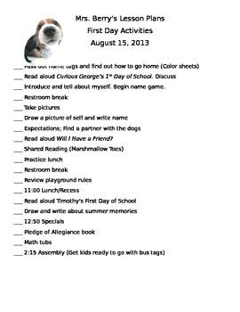 First Day Checklist