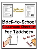 Back-to-School Classroom Checklist for Teachers