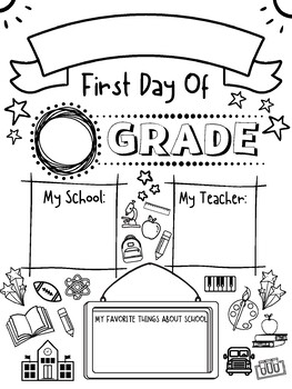 First Day Coloring Page