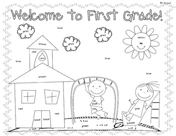 first day coloring worksheet 1st grade by christine statzel tpt. Black Bedroom Furniture Sets. Home Design Ideas