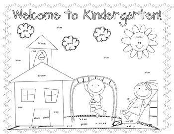 First Day Coloring Worksheet {Kindergarten} by Christine ...