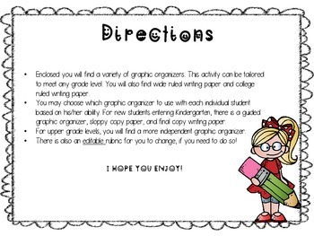 First Day Differentiated, CCS, editable, Narrative Writing ActivitActivity