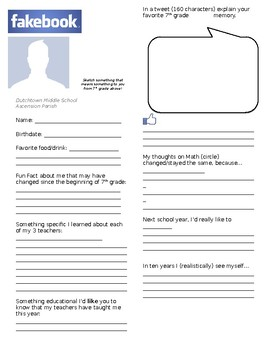 First Day and Last Day (Editable) Fakebook Activity