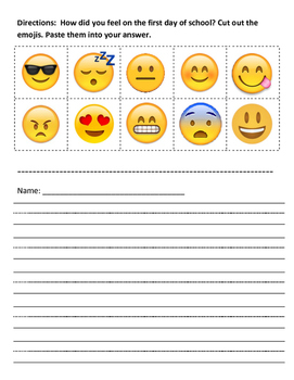 First Day Feelings Emoji Picture Cards and Writing Activity