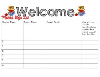 First Day Forms (Must have for parents)