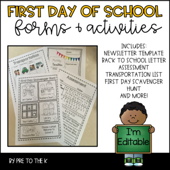First Day Forms and Activities