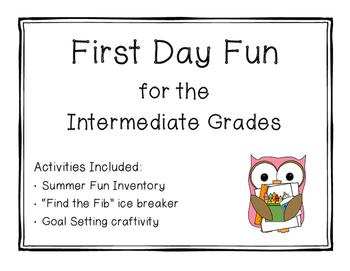 First Day Fun for the Intermediate Grades