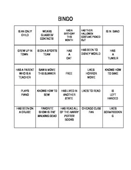 First Day Get to Know You Bingo