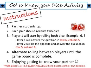 First Day Get to Know You Dice Activity