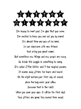 First Day Glitter Jitter Poem