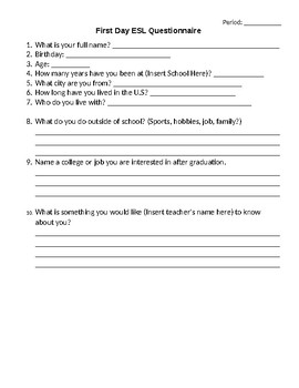 First Day High School ESL Questionnaire