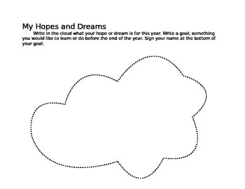 First Day Hopes and Dreams Cloud - Editable