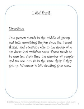 First Day Introduction Games