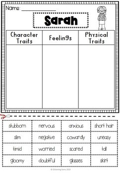 First Day Jitters Activities | First Day Jitters Character Traits and Feelings