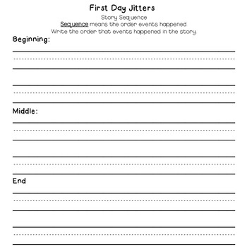 First Day Jitters Back To School Activity Set