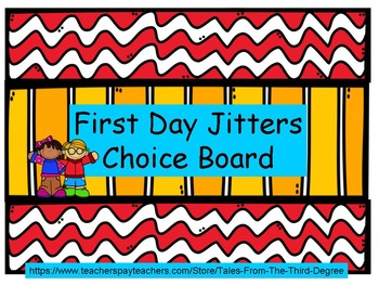 First Day Jitters Reading and Writing Response Choice Board