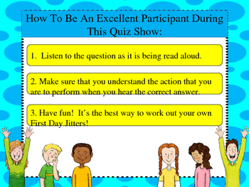 First Day Jitters Interactive PowerPoint Quiz Show