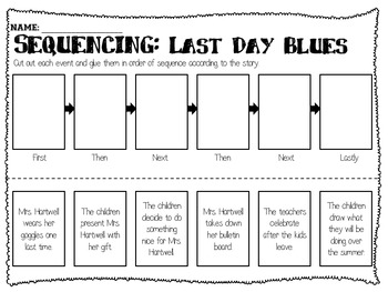 First Day Jitters amp Last Blues Sequencing Worksheets