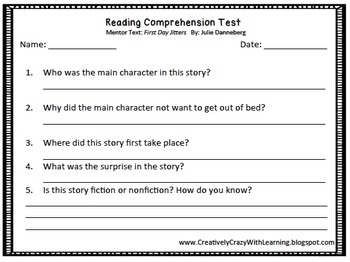 First Day Back to School Mentor Text Lesson Plans