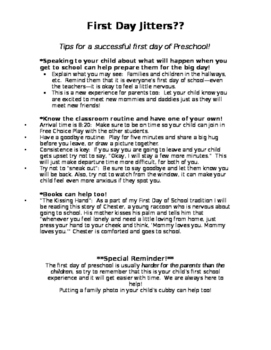 First Day Jitters Note to Parents