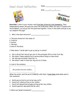 First Day Jitters Read Aloud Comprehension