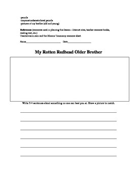 My Rotten Red Head Older Brother Lesson Plan and Read Aloud