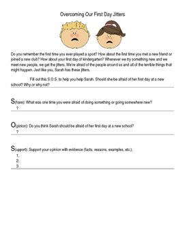First Day Jitters Reading Activity