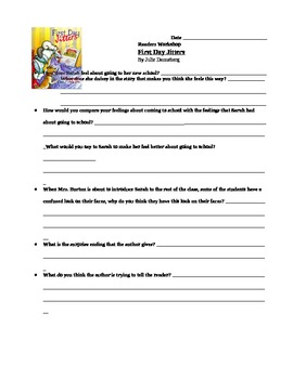 First Day Jitters Reading Response Common Core