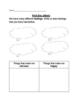 First Day Jitters Sheet