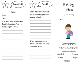 First Day Jitters Trifold - California Treasures 3rd Grade