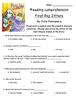 First Day Jitters- Vocabulary & Comprehension questions with writing response