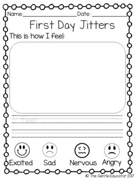 First Day Jitters Worksheet and Graph
