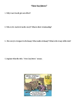 First Day Jitters reading with stop and jot points (reading comprehension)