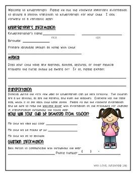 First Day Kindergarten Information Sheet