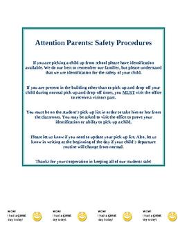 First Day Kindergarten Preschool Survival Kit Parent Info Procedures Behavior