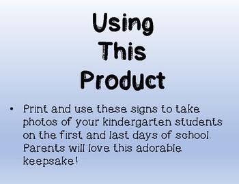 First Day /Last Day of Kindergarten Sign Emojis