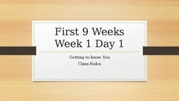 First Day Lesson - Class Rules and Quiz