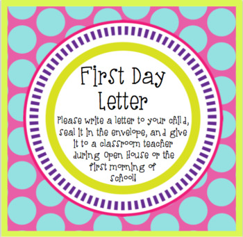 First Day Letter Label